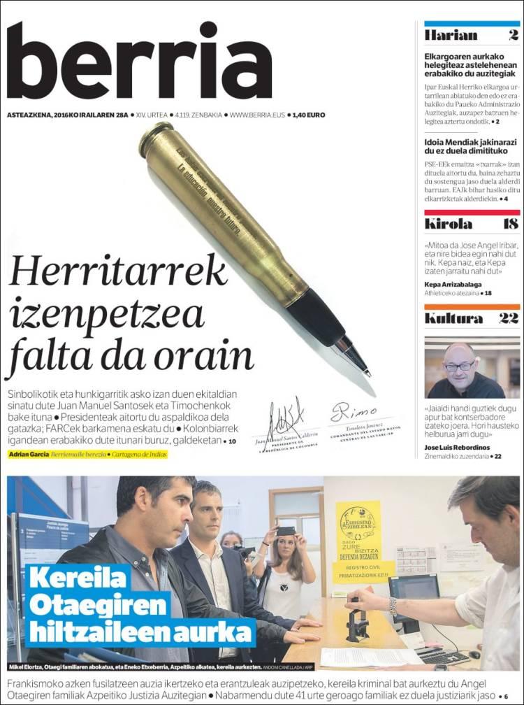 Portada de Berria (España)