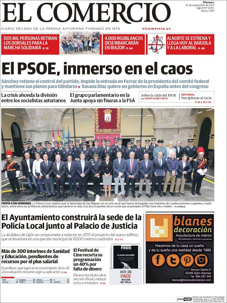 Portada de El Comercio - Gijón (España)