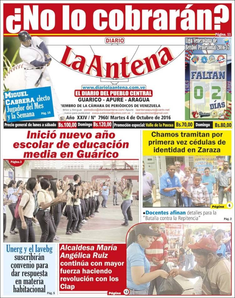 Portada de Diario La Antena (Venezuela)