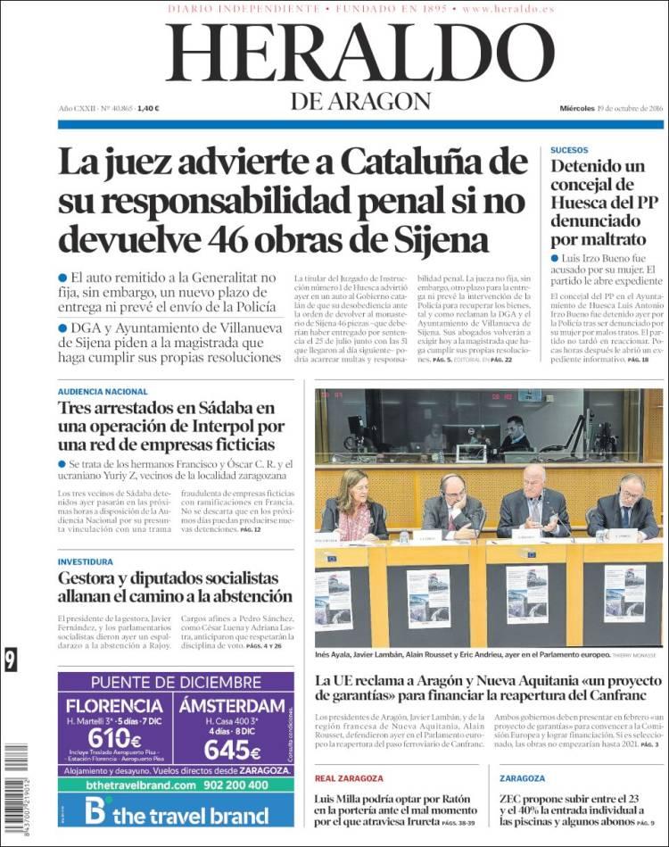 Portada de Heraldo de Aragón (Spain)