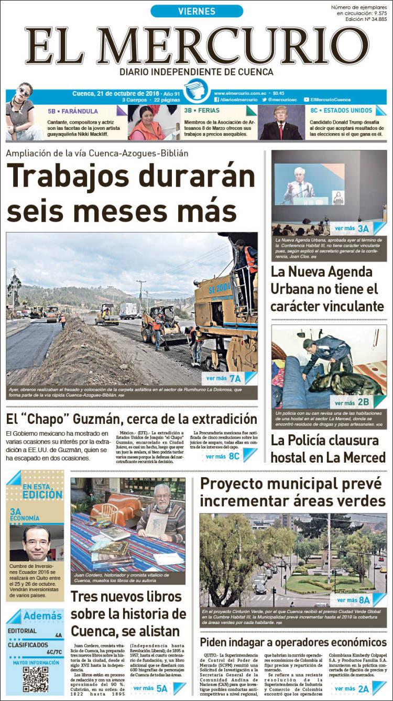 Portada de Diario El Mercurio (Ecuador)