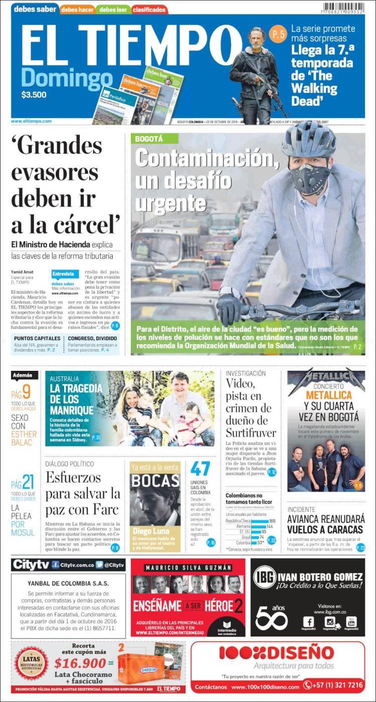 Periódico El Tiempo (Colombia). Periódicos de Colombia. Edición de ...