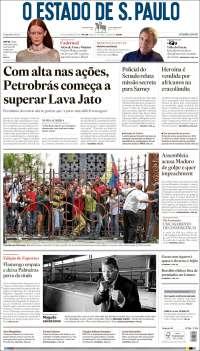 Portada de O Estado de São Paulo (Brasil)