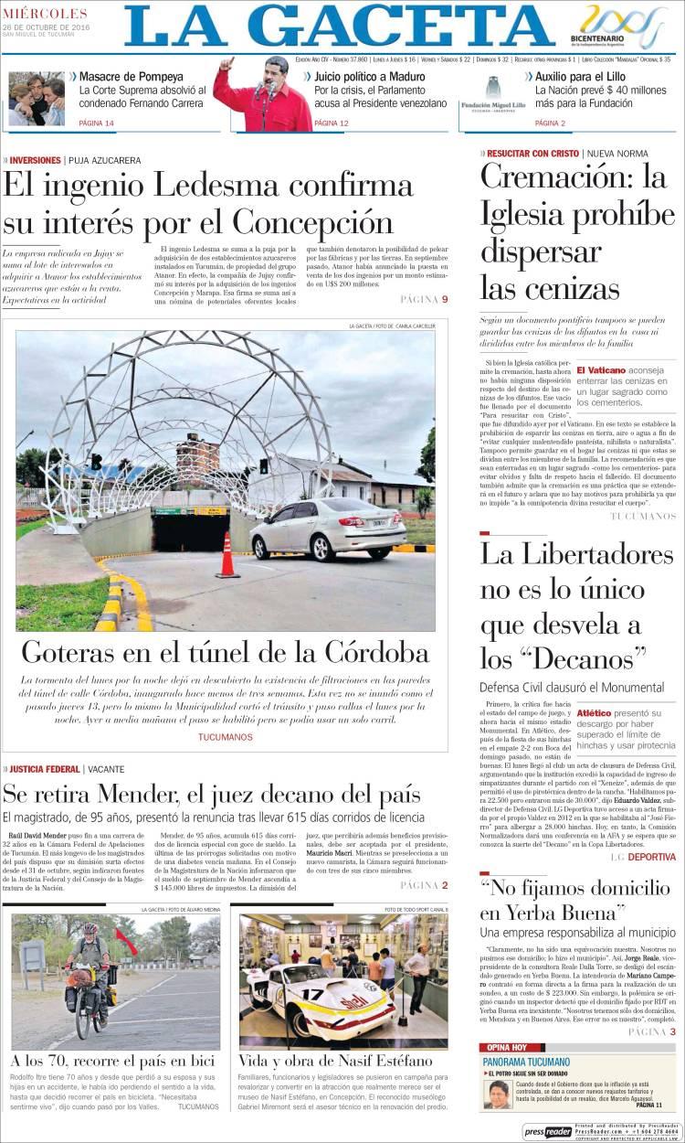 Portada de La Gaceta (Argentina)