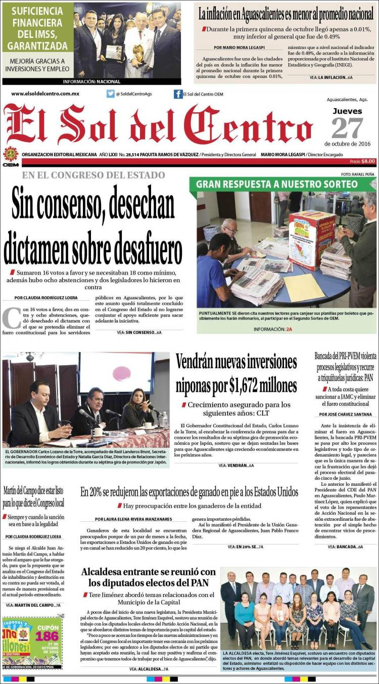 Portada de El Sol del Centro (México)