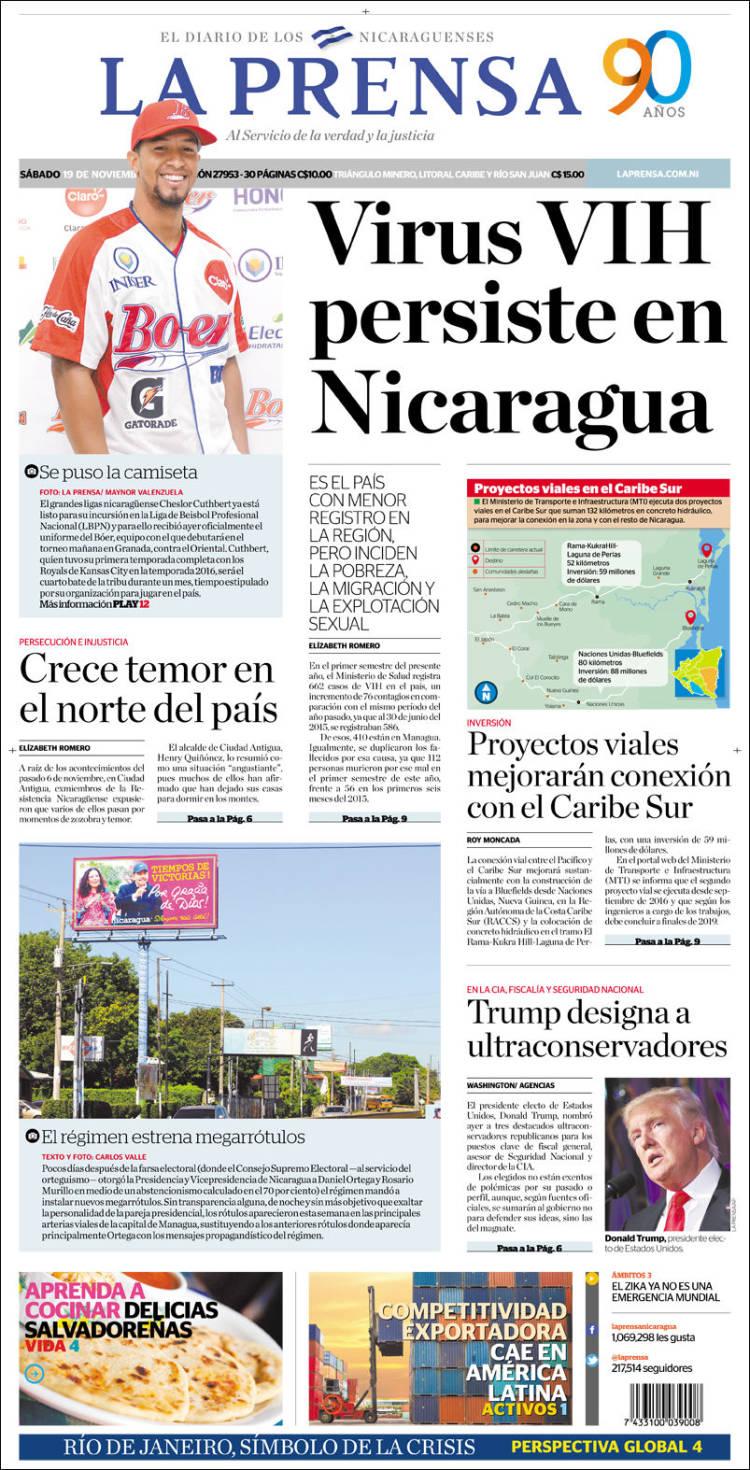 Portada de La Prensa (Nicaragua)