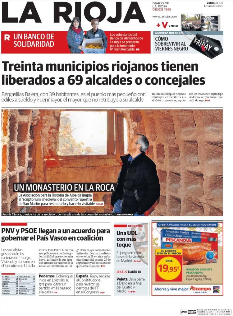 periódico la rioja españa periódicos de españa edición de lunes