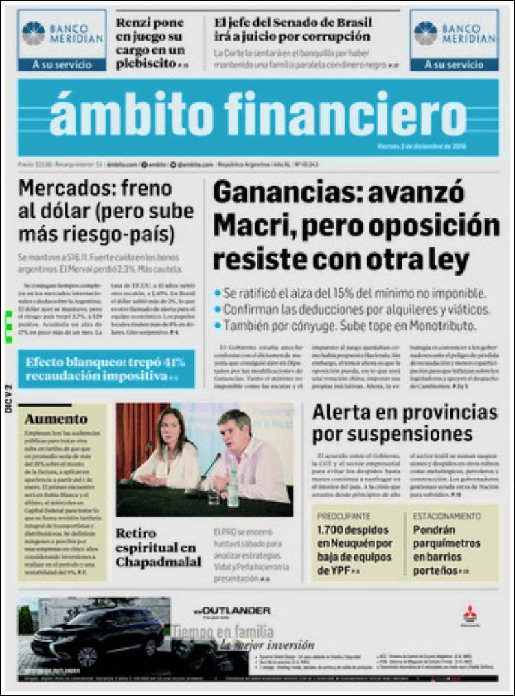 Portada de Diario Ambito Financiero (Argentina)