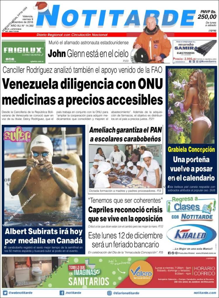 Portada de Notitarde (Venezuela)