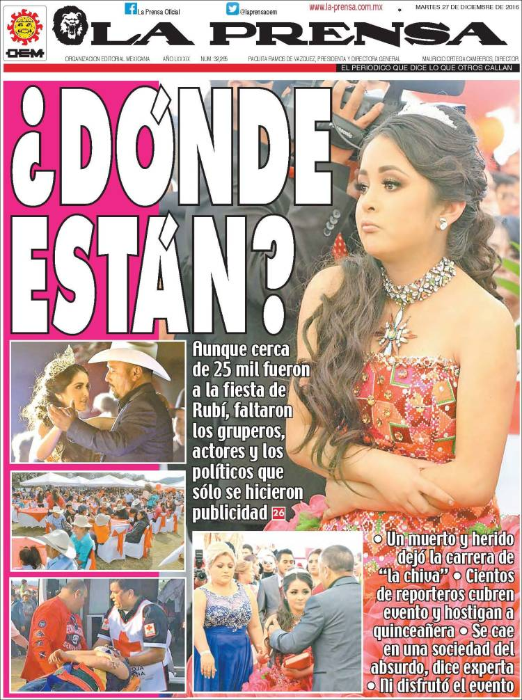 Journal la prensa mexique les unes des journaux de for Espectaculos del dia de hoy en mexico