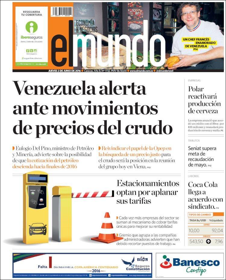 Newspaper El Mundo Economía Negocios Venezuela Newspapers In Venezuela Thursday S Edition June 2 Of 2016 Kiosko Net