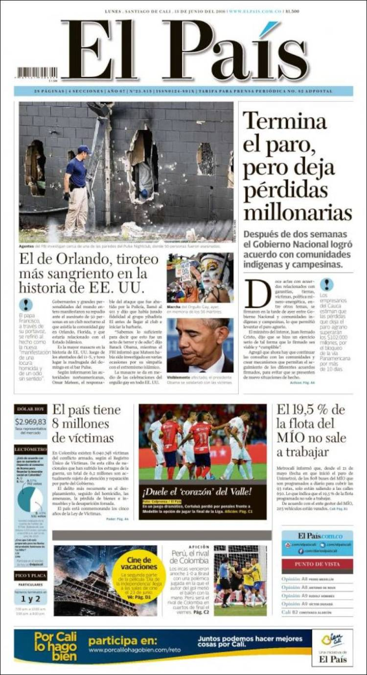 Newspaper El País - Cali (Colombia). Newspapers in Colombia. Monday's  edition, June 13 of 2016. Kiosko.net
